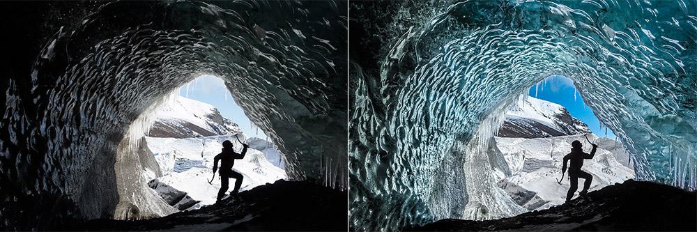 Porównanie zdjęcia wykonanego przez Sony NEX-5 i zapisanego bezpośrednia jako JPEG (lewa) oraz przetworzonego z formatu RAW (prawa).