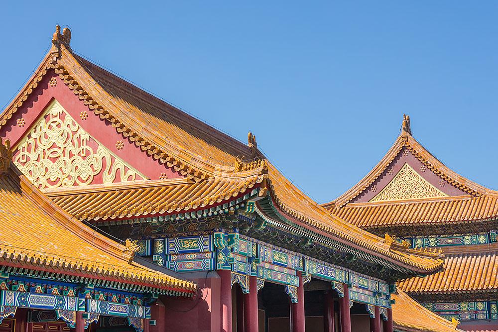 Żółty kolor jest symbolem cesarza, dlatego wszystkie dachy w Zakazanym Mieście pokryte są żółtą dachówką.
