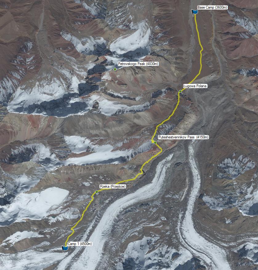 Pik Lenina: Trasa między Base Camp i Camp 1.