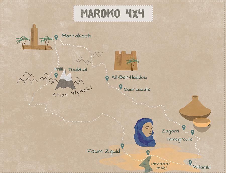 Mapka pokazująca przebieg trasy rajdu po Maroku.