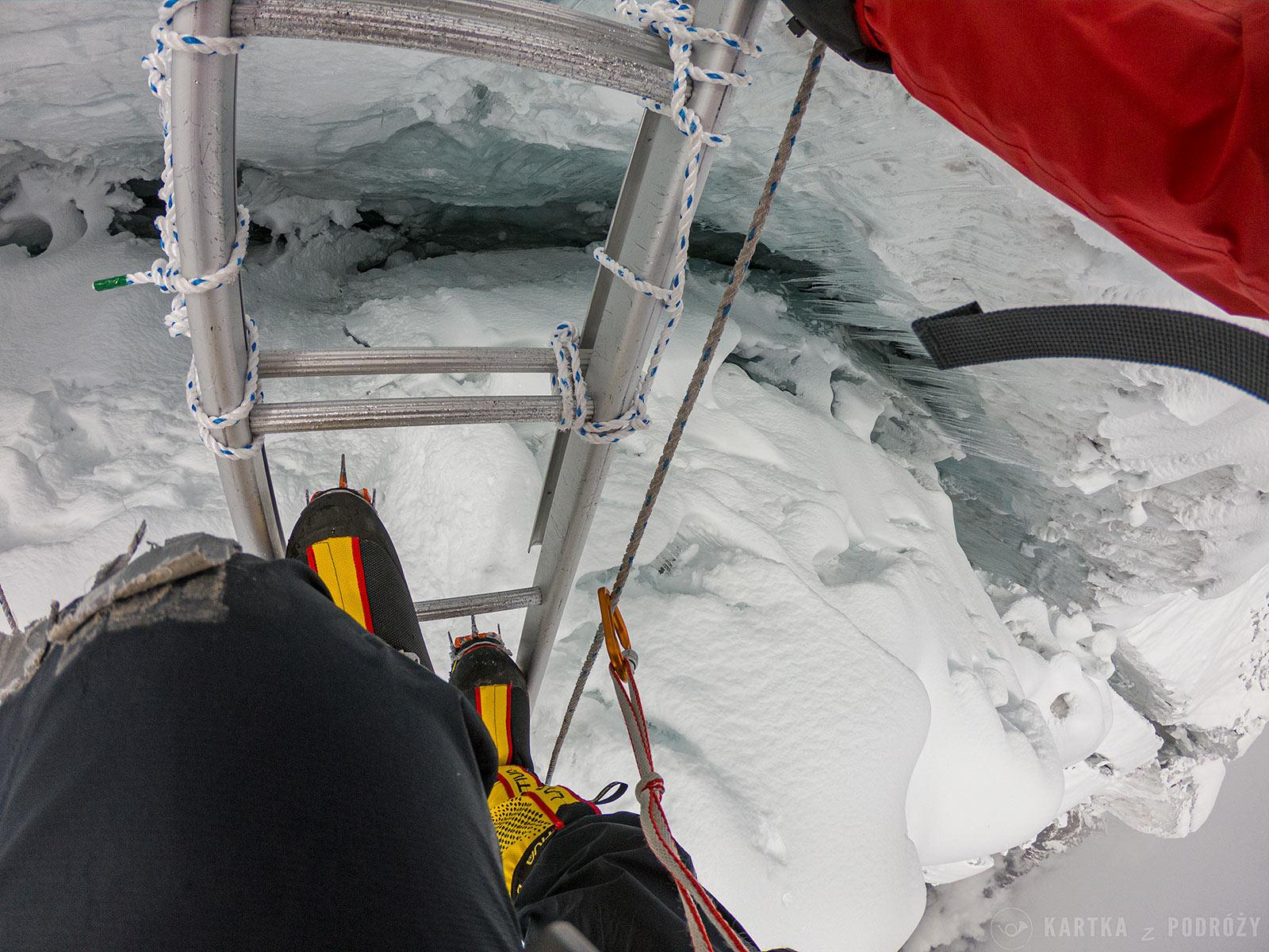 Wyprawa na Manaslu: szczelina lodowcowa.